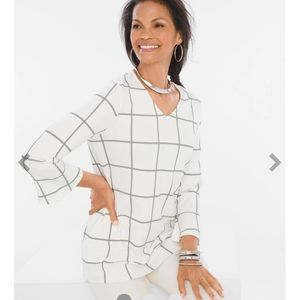 Chico's windowpane Ponte top NWT